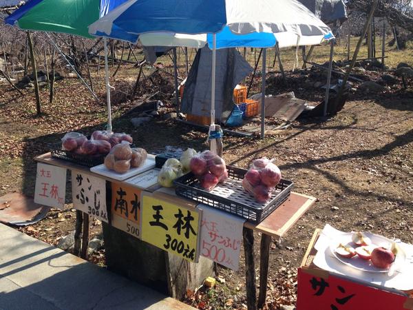 信州松川 路傍の林檎販売